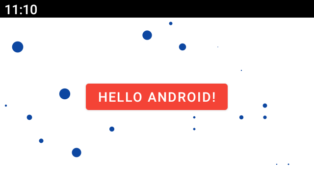 Button with text hello android, covered in blue spots