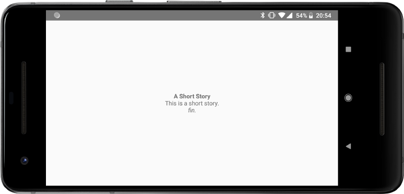 "An app showing three lines: ""A Short Story"", ""This is a short story"" and ""fin."", each with a different visual style"
